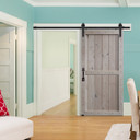 two panel barn door in traditional winter white