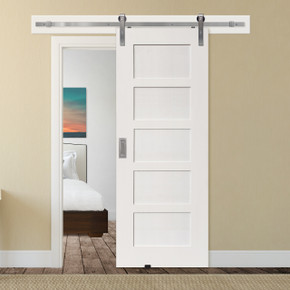 5 Panel Shaker barn door with stainless steel hardware