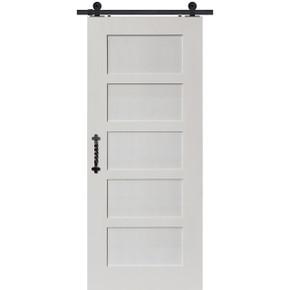 5 panel shaker barn door white primed