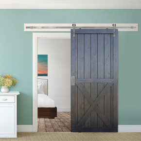 X two panel barn door in distressed forest grey