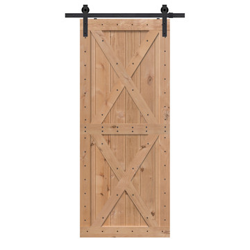 Unfinished Two Piece Double X BarnWood Knotty Alder Barn Door