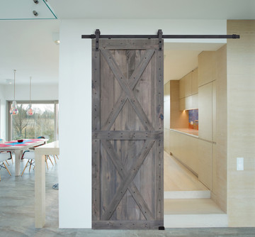 Double X BarnWood Knotty Alder Two Piece Barn Door