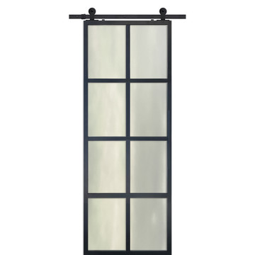 Modern French 8 Lite Barn Door with cloud glass