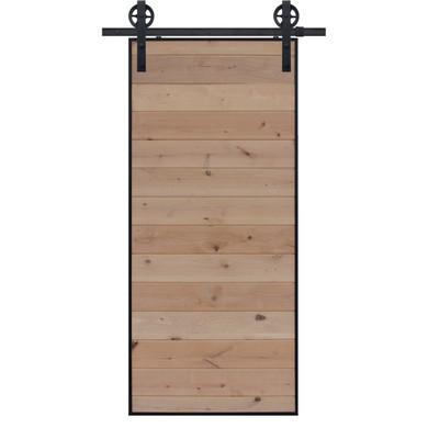 Unfinished Horizontal Iron Plank Barn Door with vintage hardware