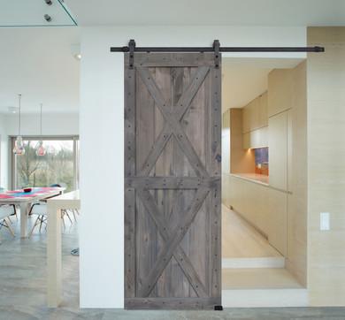 Double X BarnWood Knotty Alder Two Piece Barn Door