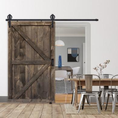 double z two panel barn door in ranch brown