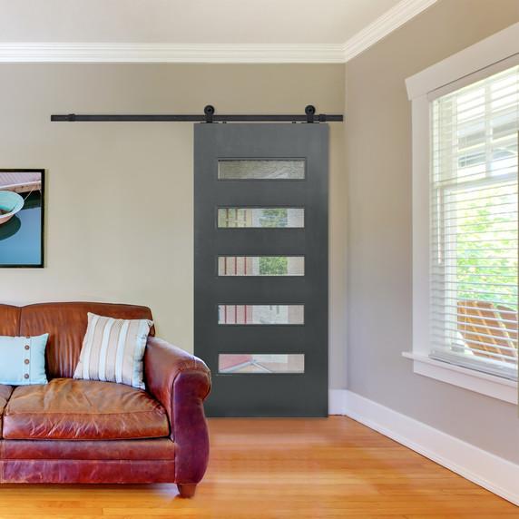 Beverly Modern Barn Door with slate grey finish