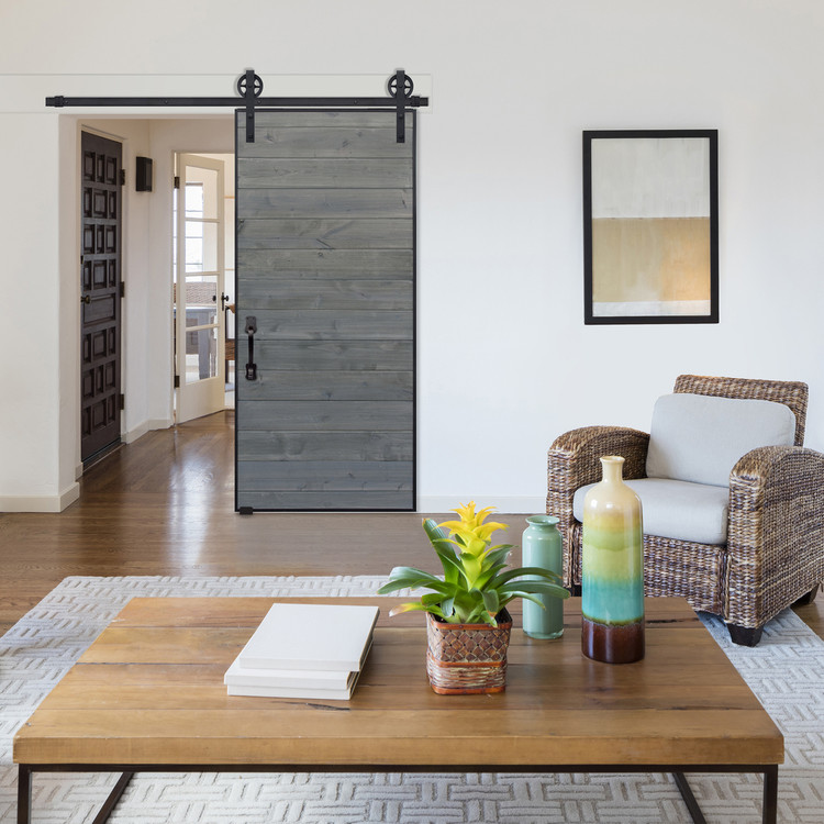 Horizontal Iron Plank Barn Door with Vintage hardware