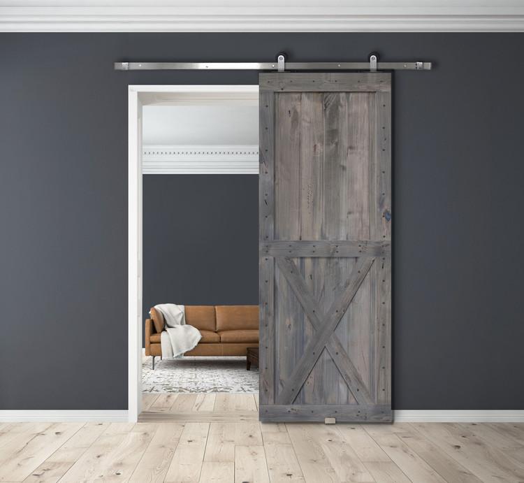 Coal Grey Two Panel X BarnWood Two Piece barn door