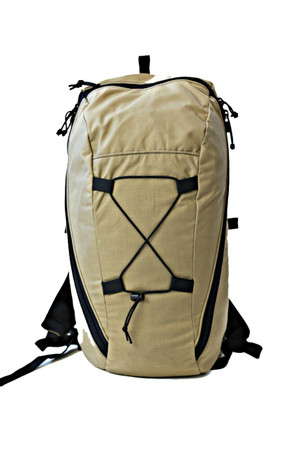 Merlin - main compartment, large zippered pocket, small zippered pocket, shock cord exterior storage.