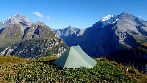 Eolus Two Person Trekking Pole Tent in Swiss Alps