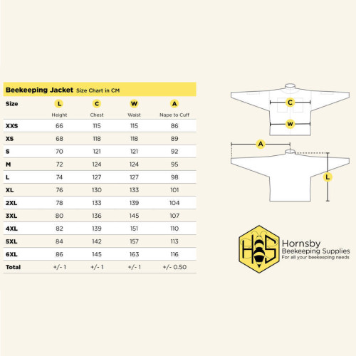 Ventilated jacket size chart
