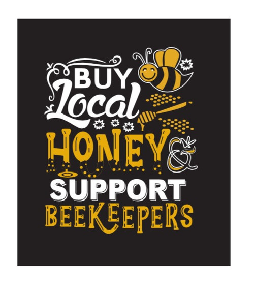 T Shirt Black -Buy Local Honey Support Beekeepers