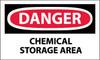 DANGER, CHEMICAL STORAGE AREA, 3X5, PS VINYL, 5PK