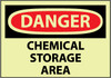 DANGER, CHEMICAL STORAGE AREA, 10X14, RIGID PLASTICGLOW