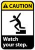 CAUTION, WATCH YOUR STEP (W/GRAPHIC), 10X7, RIGID PLASTIC