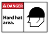 DANGER, HARD HAT AREA (GRAPHIC), 3X5, PS VINLY, 5/PK