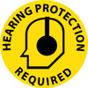 """FLOOR SIGN, WALK ON, HEARING PROTECTION REQUIRED, 17"""" DIA"""