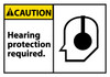 CAUTION, HEARING PROTECTION REQUIRED (GRAPHIC), 3X5, PS VINYL, 5/PK