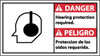 DANGER, HEARING PROTECTION REQUIRED (BILINGUAL W/GRAPHIC), 10X18, PS VINYL
