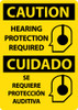 CAUTION, HEARING PROTECTION REQUIRED (GRAPHIC), BILINGUAL, 14X10, .040 ALUM