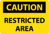 CAUTION, RESTRICTED AREA, 20X28, .040 ALUM