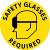 """FLOOR SIGN, WALK ON, SAFETY GLASSES REQUIRED, 17"""" DIA"""