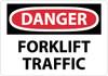DANGER, FORKLIFT TRAFFIC, 10X14, RIGID PLASTIC