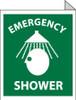 EMERGENCY SHOWER, FLANGED, 10X8, RIGID PLASTIC