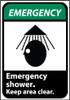 EMERGENCY, EMERGENCY SHOWER (W/GRAPHIC), 14X10, RIGID PLASTIC