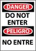 DANGER, DO NOT ENTER BILINGUAL, 14X10, RIGID PLASTIC