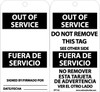 TAGS, OUT OF SERVICE BILINGUAL, 6X3, .015 MIL UNRIP VINYL, 25 PK