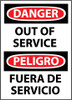 DANGER, OUT OF SERVICE BILINGUAL, 14X10, .040 ALUM