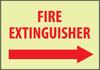 FIRE, FIRE EXTINGUISHER, RIGHT ARROW, 10X14, RIGID PLASTICGLOW