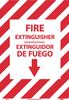 FIRE EXTINGUISHER, DOWN ARROW,  BILINGUAL 14X10, PS GLO VINYL