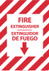 FIRE EXTINGUISHER, DOWN ARROW,  BILINGUAL 14X10, GLO RIGID PLASTIC
