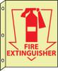 FIRE, FIRE EXTINGUISHER, 10X8, PLASTIC FLANGEDGLOW