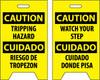 FLOOR SIGN, DBL SIDE, CAUTION TRIPPING HAZARD CAUTION WATCH YOUR STEP (BILINGUAL), 20X12