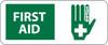 FIRST AID (W/GRAPHIC), 7X17, RIGID PLASTIC