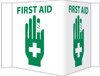 VISI SIGN, FIRST AID, WHITE, 5 3/4X8 3/4, .125 ACRYLIC