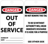 TAGS, OUT OF SERVICE, 6X3, .015 MIL UNRIP VINYL, 25 PK