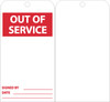TAGS, OUT OF SERVICE, 6X3, UNRIP VINYL, 25/PK