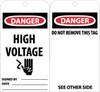 TAGS, DANGER HIGH VOLTAGE, 6X3, UNRIP VINYL, 25/PK W/ GROMMET