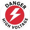 FLOOR SIGN, WALK ON, DANGER HIGH VOLTAGE, 17 DIA, PS VINYL
