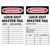 TAGS, DANGER LOCKOUT MASTER TAG, 6X3, UNRIP VINYL, 25/PK W/ GROMMET