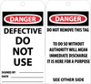 TAGS, DEFECTIVE DO NOT USE, 6X3, .015 MIL UNRIP VINYL, 25 PK W/ GROMMET