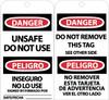 TAGS, UNSAFE DO NOT USE BILINGUAL, 6X3, .015 MIL UNRIP VINYL, 25 PK W/ GROMMET
