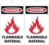 TAGS, DANGER FLAMMABLE MATERIAL, 6X3, UNRIP VINYL, 25/PK W/ GROMMET