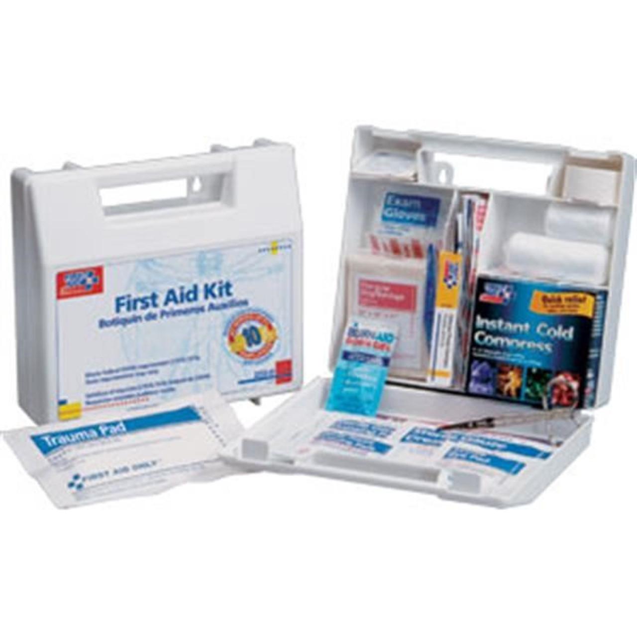 10-Person, 63-Piece Bulk First Aid Kit w/ Dividers (Plastic) - 222U