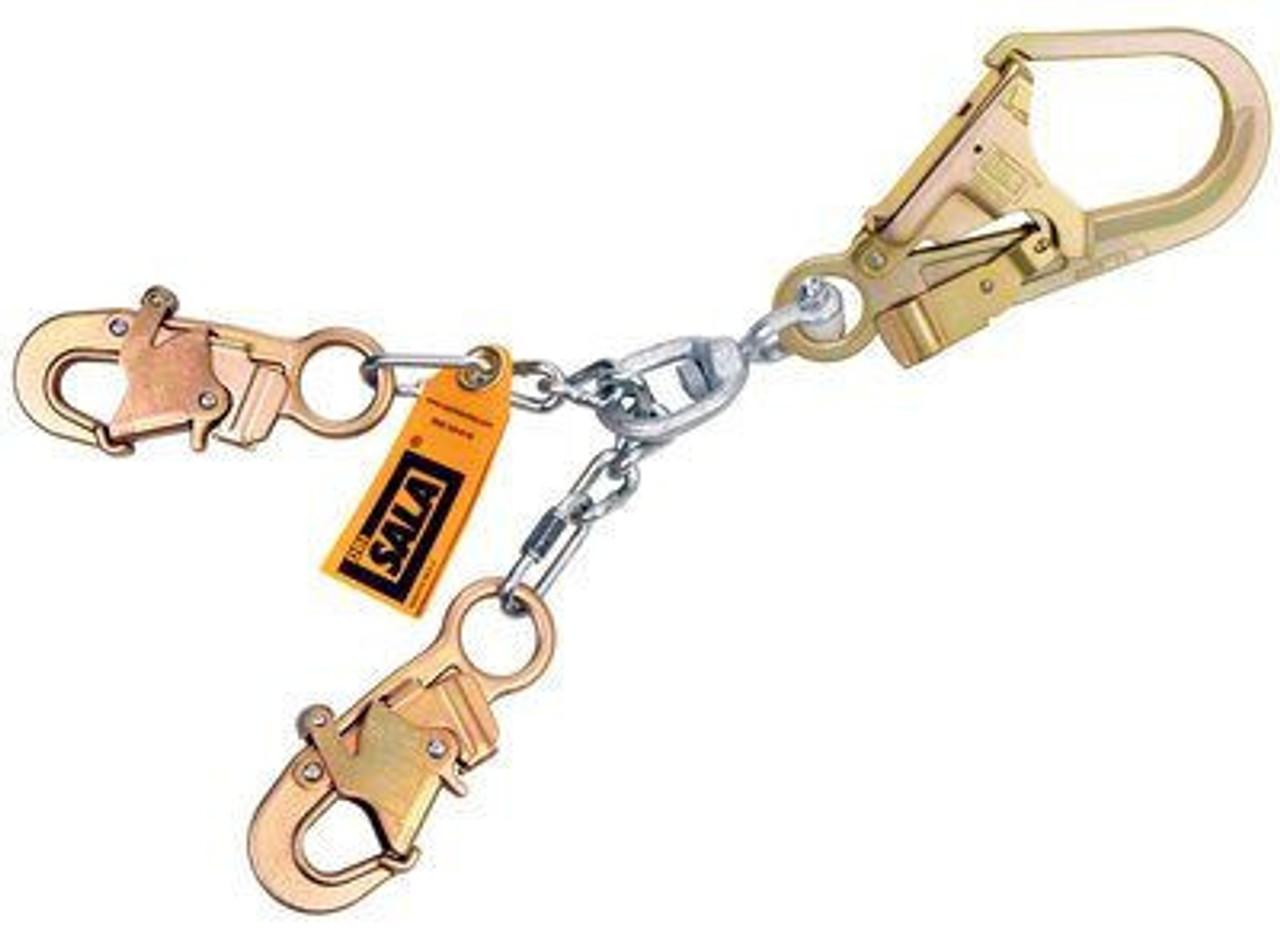 Snap Hooks At Leg Ends 18 with Aluminum Rebar Hook At Center 3M DBI-SALA 1231380 Web Rebar Positioning Lanyard Yellow//Gold 18 with Aluminum Rebar Hook At Center DBI//Sala